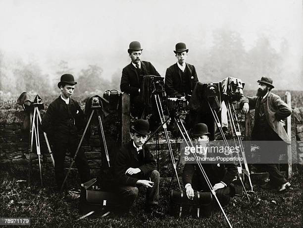 circa 1910 Cheshire England A group of Press Photographers