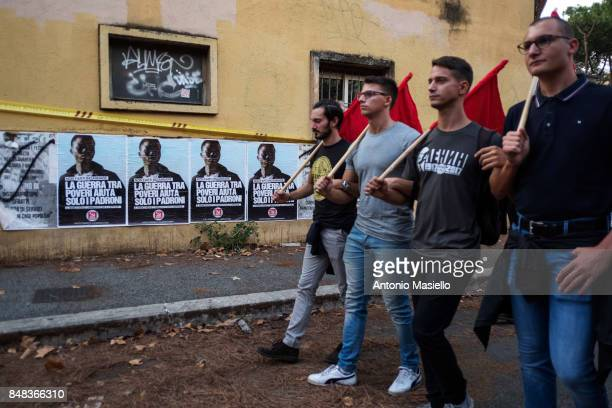 People protest against antiracism after clashes between farright movement of Casapound and antifascists in the Tiburtino district in Rome Italy on...