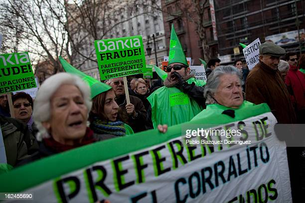 People protest against Bankia's fraud during a march by thousands of people on February 23 2013 in Madrid Spain Public health workers civil servants...