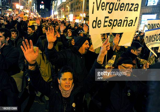 People protest against corruption scandals implicating the PP in streets of Madrid on February 2 2013 Spain's Prime Minister Mariano Rajoy today...