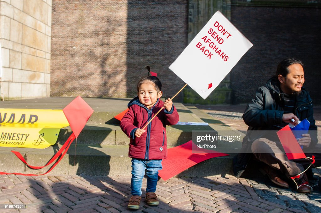 Demonstration 'Don't Send Afghans Back' in Utrecht