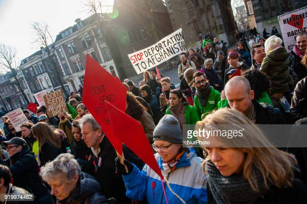 People protest against deportations to Afghanistan on February 18th 2018 in Utrecht Netherlands Between January 1st and september 30th 2017 some 8090...