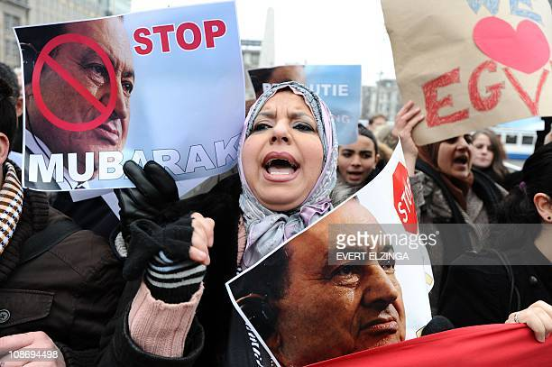 People protest against Egyptian president Hosni Mubarak at the Dam square in Amsterdam, on February 1, 2011. Egyptian organisations in the...