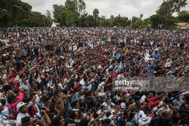 People protest against Ethiopian government during Irreecha the annual Oromo festival to celebrates the end of the rainy season in Bishoftu on...