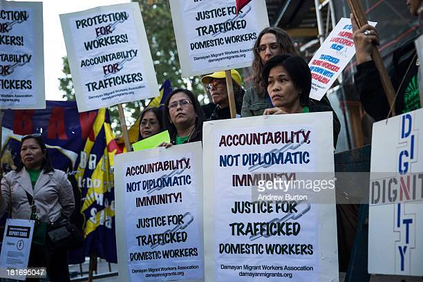 People protest against labor trafficking and modern day slavery outside the United Nations on September 23 2013 in New York City The UN General...