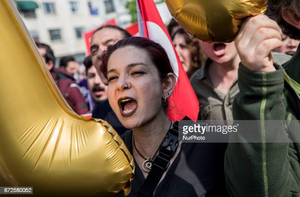 People protest against Referendum results in Istanbul Turkey on April 24 2017 Turkey's main opposition party launched a legal challenge at a top...