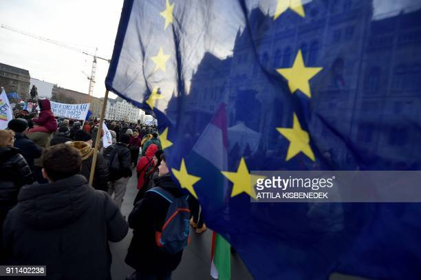 People protest against the education policy of prime Minister Viktor Orban in front of the parliament building in Budapest on January 28 2018 / AFP...