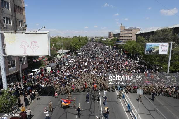 People protest against the election of former Armenian President Sargsyan as the Prime Minister by the National Assembly of Armenia on April 23 2018...