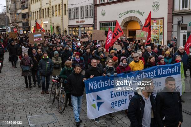 People protest against the farright AfD party in Erfurt eastern Germany on February 6 2020 The state premier of Thuringia Thomas Kemmerich resigned...