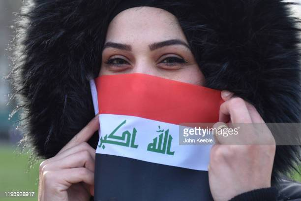 People protest against the Iraqi Government outside the Houses of Parliament on December 14 2019 in London England Iraqis gathered to protest against...