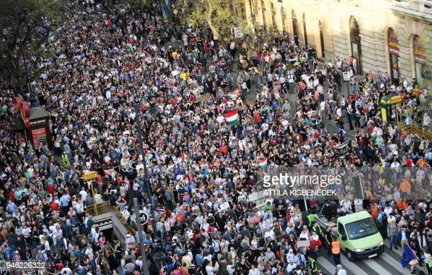 People protest against the policies of Hungarian Prime Minister Viktor Orban's government in last weekend's general election in Budapest Hungary on...