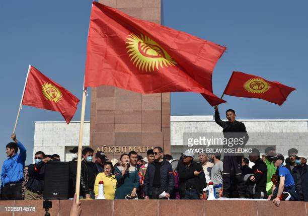 People protest against the results of a parliamentary vote in Bishkek on October 5, 2020.