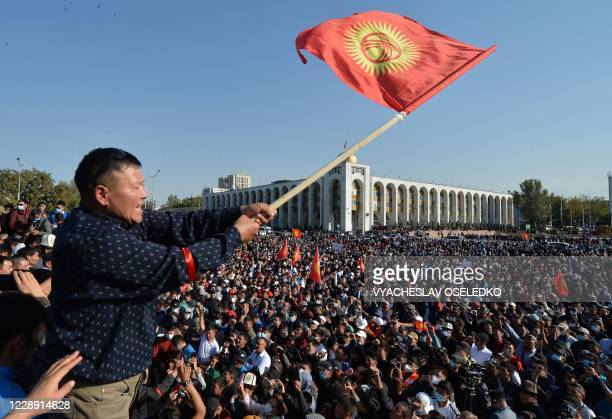 TOPSHOT People protest against the results of a parliamentary vote in Bishkek on October 5 2020