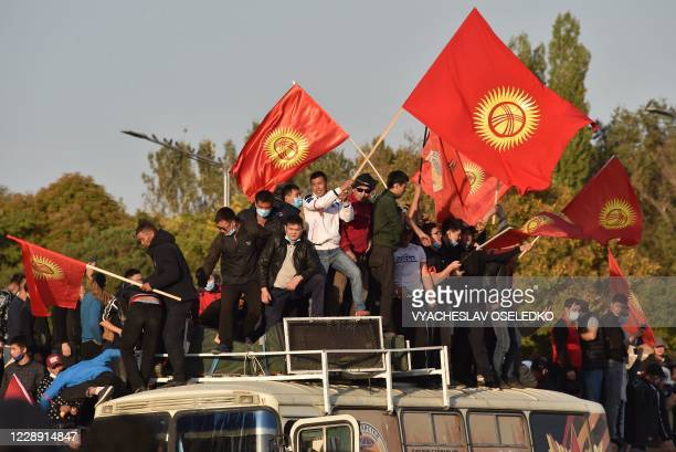 People protest against the results of a parliamentary vote in Bishkek on October 5 2020
