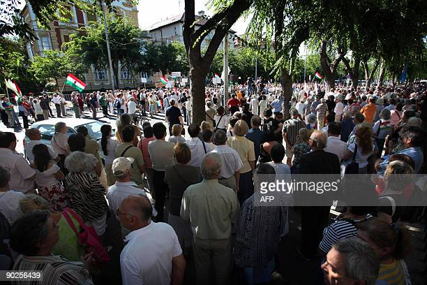 People protest against the Slovakia's new language law afflicting the Hungarian minority in Slovakia, in front of the Slovak Embassy's building in...
