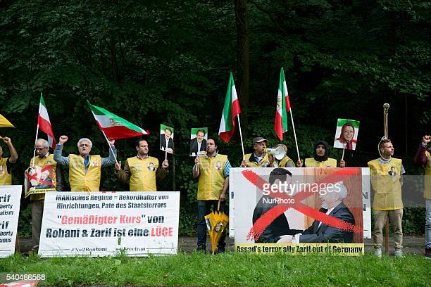 People protest against the visit of Iranian Foreign Minister Javad Zarif in Berlin Germany June 15 2016