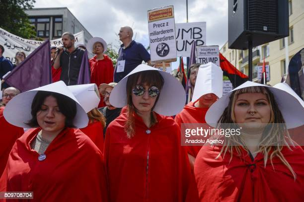 People protest against US President Donald Trump outside the Krasinskich Square nWarsaw Poland on July 06 2017