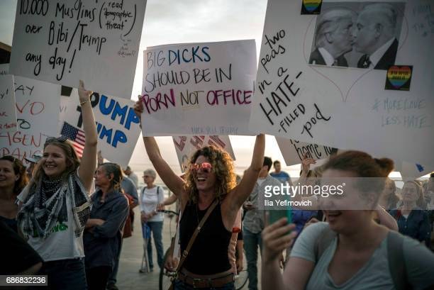 People protest against US President Donald Trump's visit to Israel on May 22 2017 in Tel Aviv IsraelThis will be Trump's first visit as President to...
