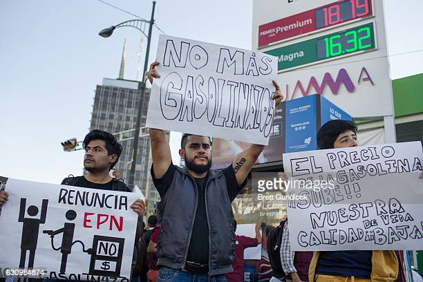 People protest an increase in gas prices during a protest organized by the Morena Political party on January 4 2017 in Mexico City Mexico On January...