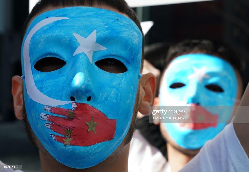 TOPSHOT-US-CHINA-UYGHUR-PROTEST : Foto jornalística