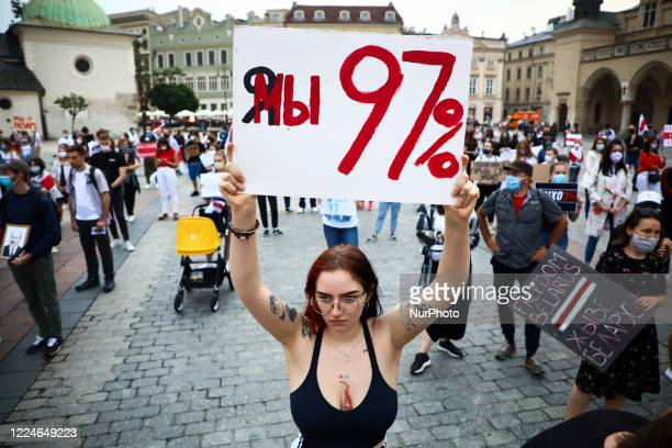 People protest at the Main Square during a rally of solidarity with political prisoners in Belarus. Krakow, Poland on July 3, 2020. After Viktor...