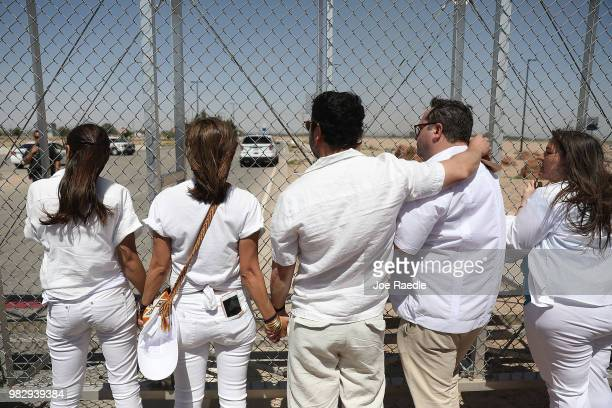 People protest at the TornilloGuadalupe port of entry gate on June 24 2018 in Tornillo Texas The group is protesting the separation of children from...
