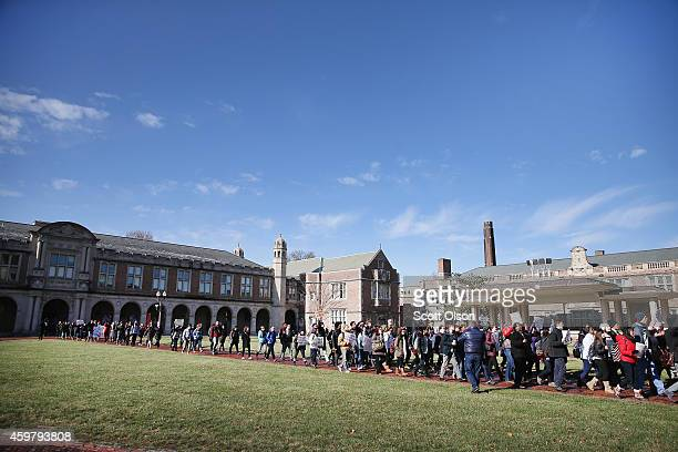 People protest at Washington University to draw attention to police abuse on December 1 2014 in St Louis Missouri The protest was part a nationwide...