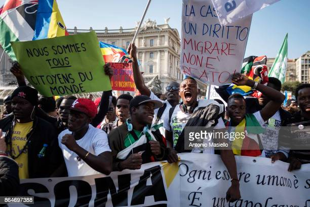 People protest during a national demonstration for refugees civil rights and against the racism titled 'No one is illegal migration is not a crime'...