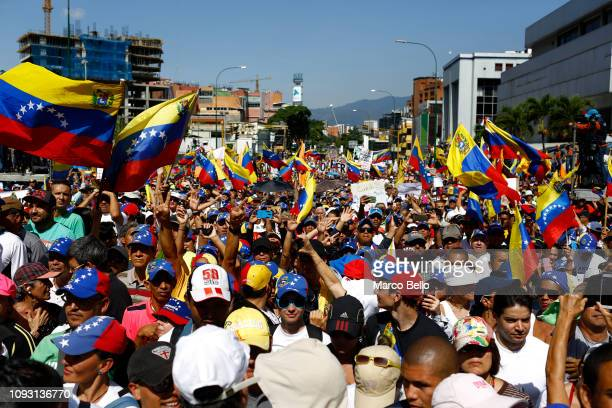 People protest during a rally against the government of Nicolás Maduro in the streets of Caracas on February 2 2019 in Caracas Venezuela Venezuela's...