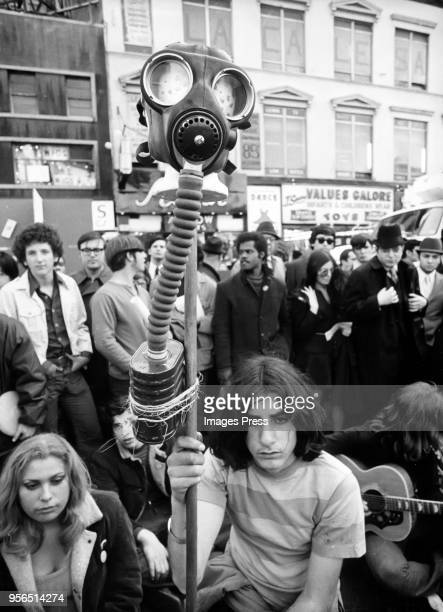 People protest during a rally on Earth Day in New York City on April 22 1970