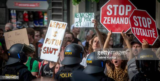 People protest during the meeting of populist farright party leaders in Wenceslas Square on April 25 2019 in Prague Czech Republic The Czech Freedom...
