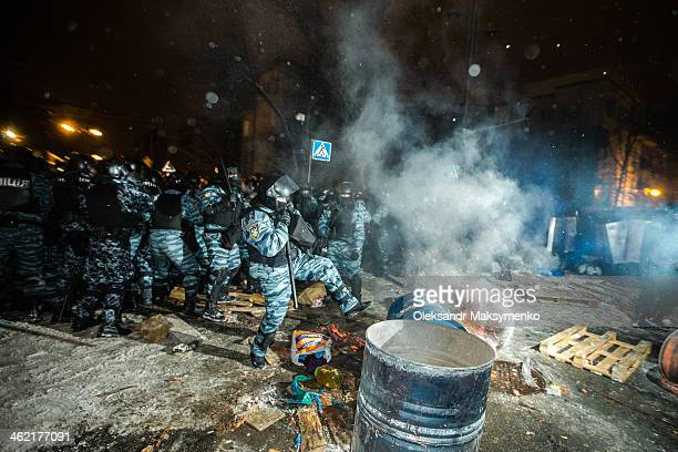 People protest in front of barricades at Independence Square on December 2013 in Kiev, Ukraine. Mass protest actions started after the president of...