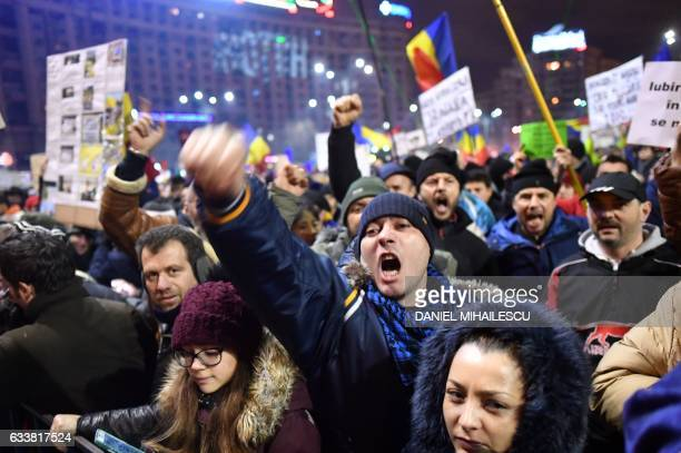People protest in front of the government headquarters against the government's contentious corruption decree in Bucharest Romania on February 4 2017...