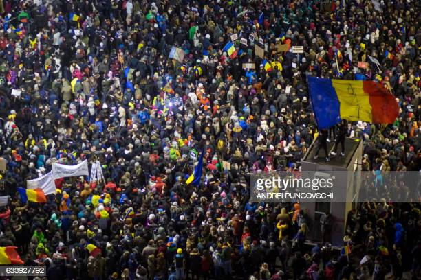 People protest in front of the government headquarters against the government's contentious corruption decree in Bucharest Romania on February 5 2017...