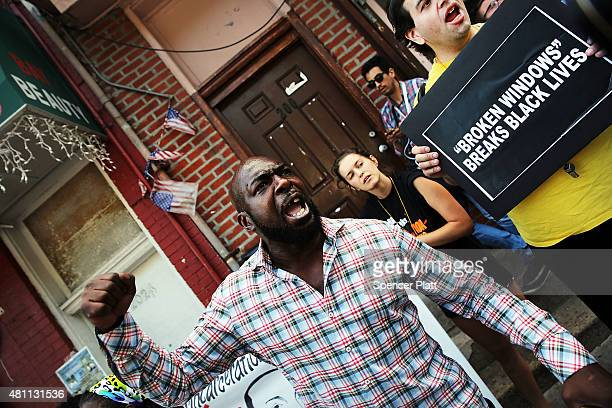 People protest in Staten Island on the one year anniversary of the death of Eric Garner on July 17 2015 in New York City Garner who was killed in a...