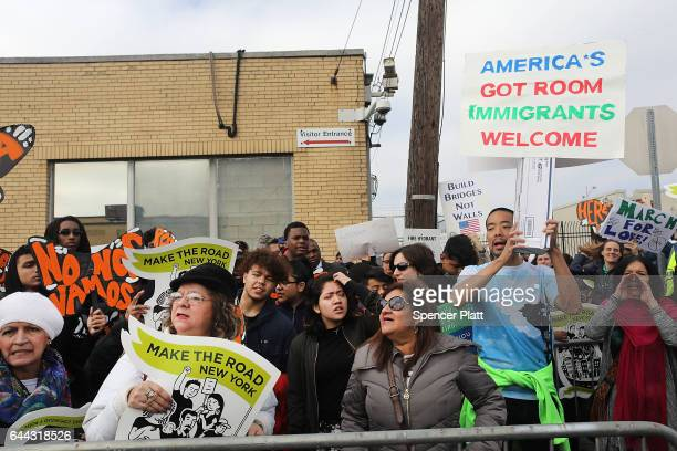 People protest outside of the Elizabeth Detention Center during a rally attended by immigrant residents and activists on February 23 2017 in...