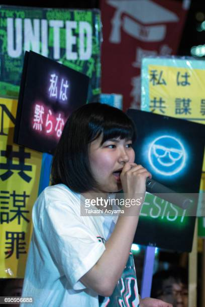 People protest outside the National Diet on June 15 2017 in Tokyo Japan Japan's controversial anticonspiracy bill to crack down on people planning...