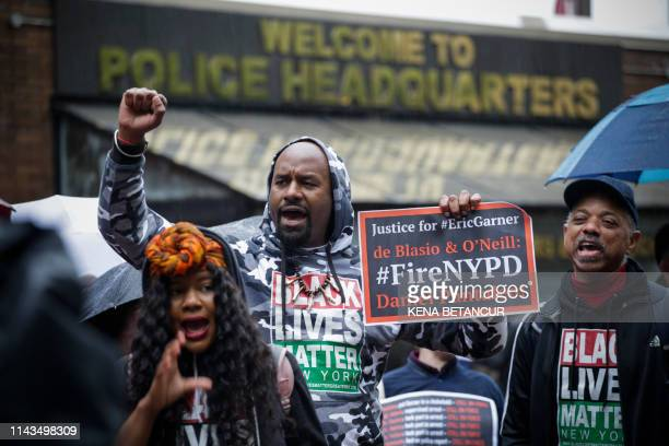 People protest outside the police headquarters while a disciplinary hearing takes place for officer Daniel Pantaleo on May 13 2019 in New York City...