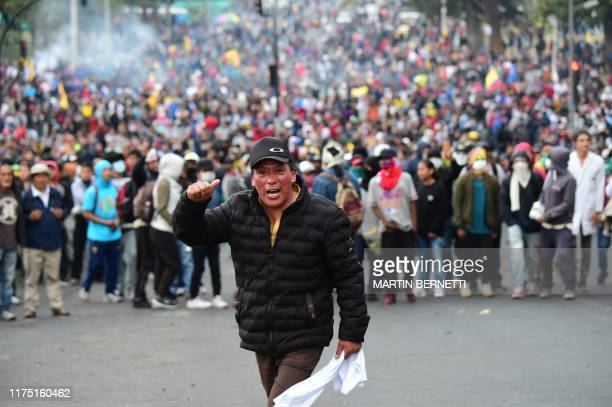 TOPSHOT People protest over a fuel price hike ordered by the government to secure an IMF loan in Quito on October 10 2019 Ecuador's President Lenin...