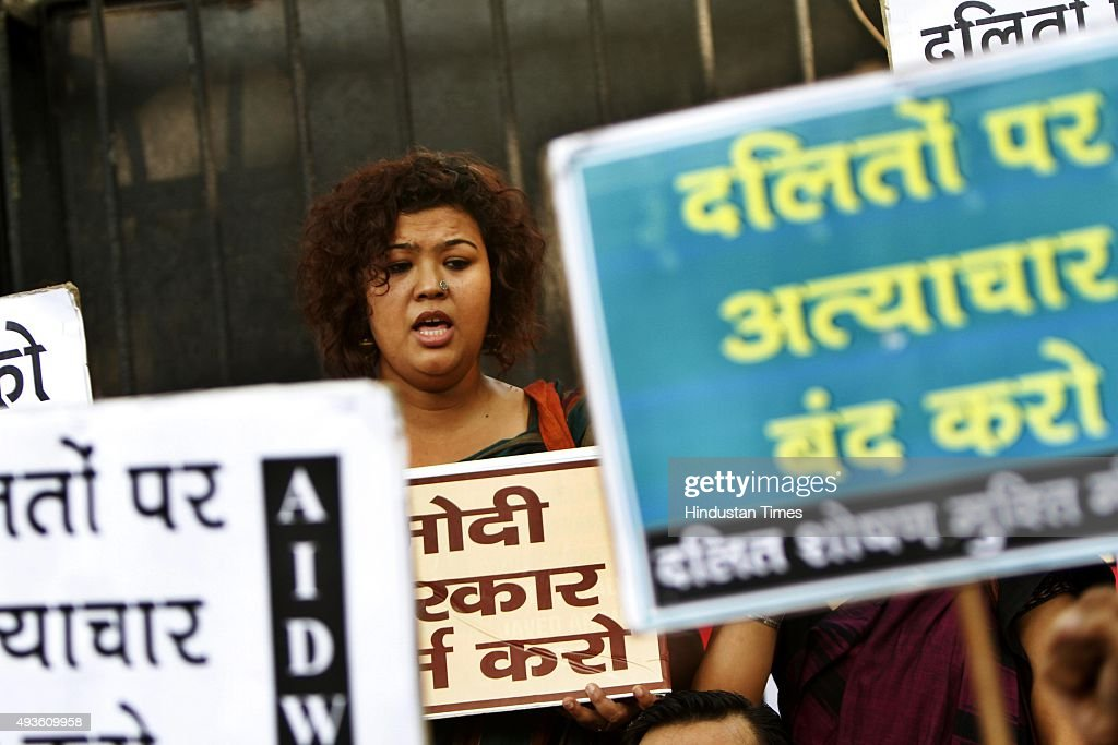 People protest over the Dalit killings in front of Haryana Bhawan on October 21 2015 in New Delhi India Twoandahalfyearold Vaibhav and 11monthold...