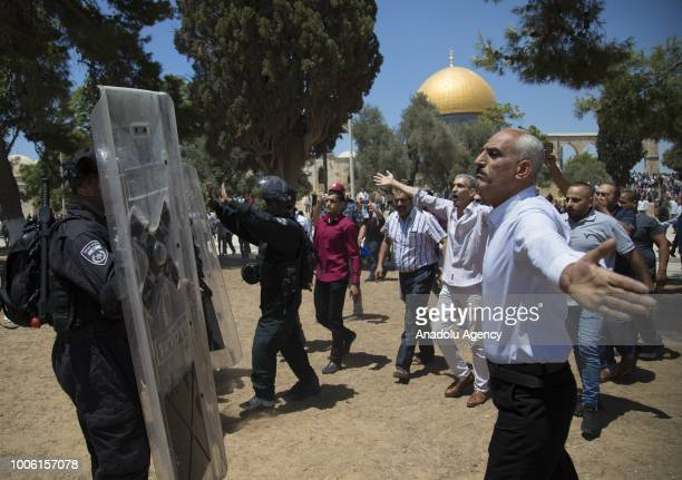 People protest the intervention of Israeli forces after they entered East Jerusalems flashpoint AlAqsa Mosque and began attacking Muslim worshipers...