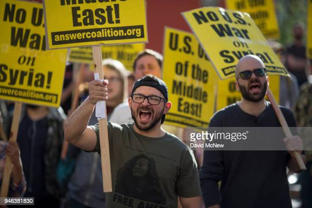 People protest the USled coalition attack in Syria on April 14 2018 in Los Angeles California Air attacks were carried out by US France and Britain...