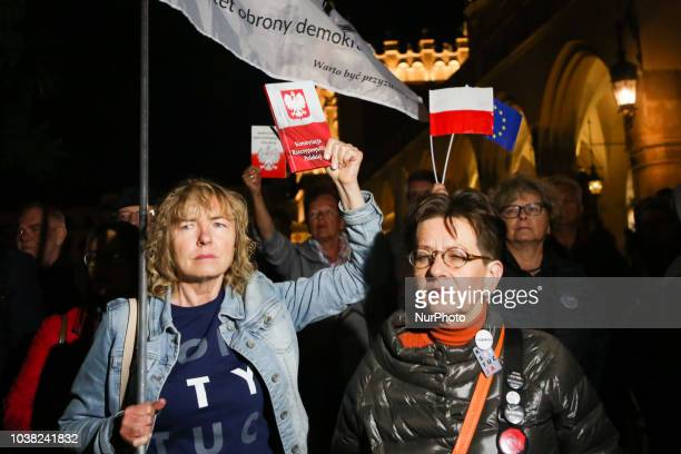 People protested at the Main Square against government plans for sweeping changes to Polands judicial system Krakow Poland on 22 September 2018 The...