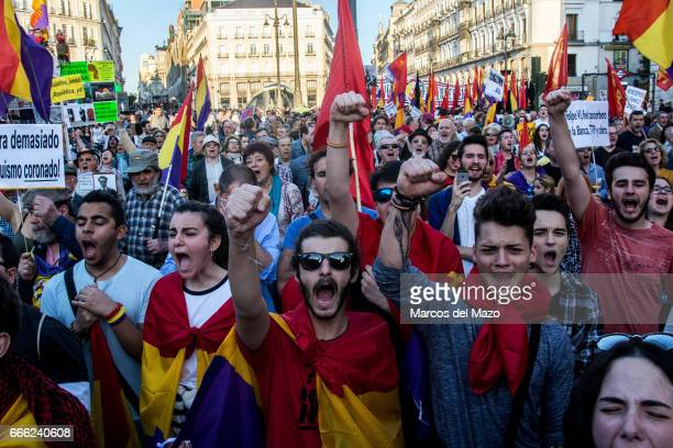 People protesting against Monarchy during a demonstration demanding a Spanish Republic