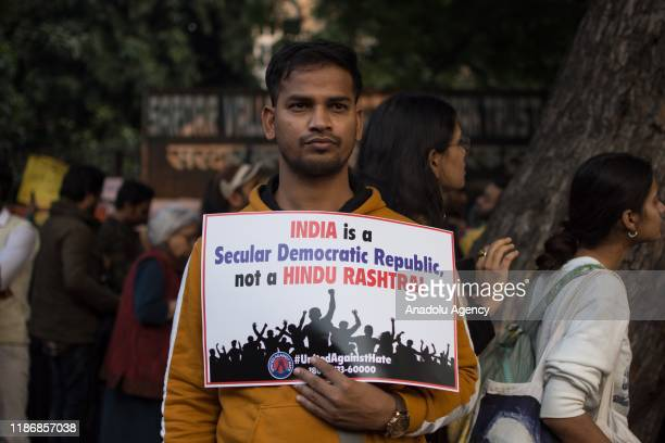 People protesting against the citizenship amendement bill which allows Hindus from Afghanistan, Bangladesh and Pakistan to get citizenship and...