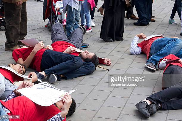 people protesting at saint george's day celebrations, london - greater london stock pictures, royalty-free photos & images
