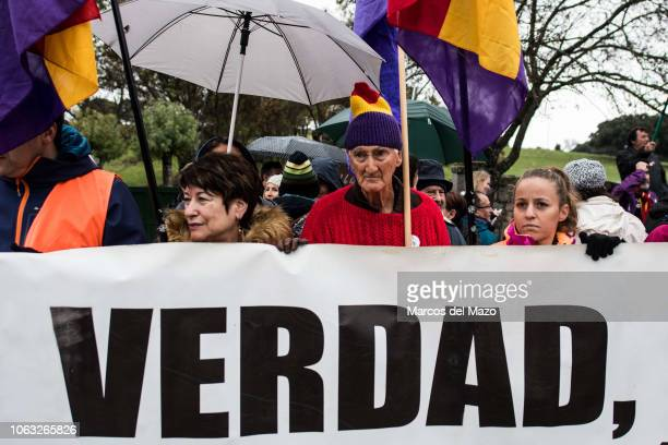 People protesting at the Valley of the Fallen against the possible exhumation and transfer to the Cathedral of Almudena of the remains of Franco...