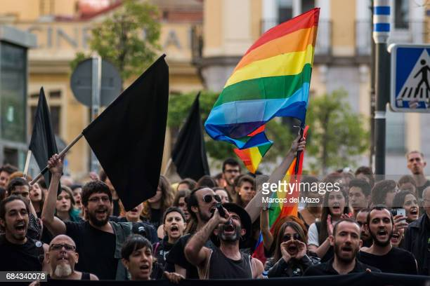 People protesting during a demonstration for the International Day against Homophobia, Transphobia and Biphobia.