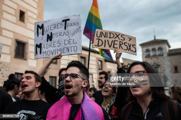 People protesting during the International Day Against Homophobia, Transphobia and Biphobia to demand equality for LGBT community.