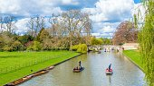 People punting on river Cam, Cambridge